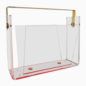 Lucite and Brass Magazine Rack, 1970s