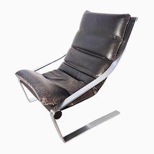 Sillón minimalista de acero plano y cuero, años 60