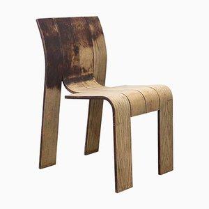 Stapelbarer gebogener Holzleistenstuhl von Gijs Bakker für Castelijn, 1974