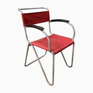 Sessel mit diagonalem Röhrengestell & Sitz aus Seilgeflecht & rotem Leinenbezug von Willem Hendrik Gispen für Gispen, 1930er
