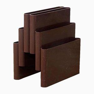 Schokoladenbrauner Zeitschriftenständer von Giotto Stoppino für Kartell, 1972