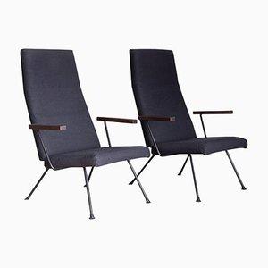 Sessel 140 mit Dunkelblauem / Schwarzem Stoff von AR Cordemeijer für Gispen, 1959