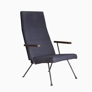 Easy Chair 140 with Dark Blue/Black Fabric by A.R. Cordemeijer for Gispen, 1959