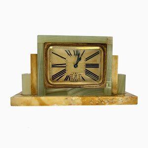 Onyx, Marble, and Brass Block Clock, 1930s