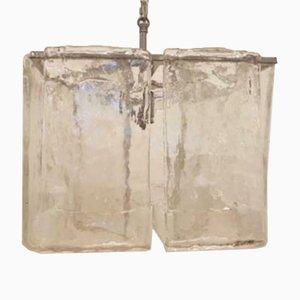 Lámpara colgante italiana Mid-Century de vidrio, años 60