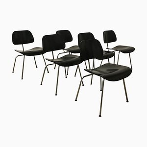 Black DCM Chairs by Charles and Ray Eames for Vitra, 1946, Set of 6