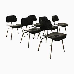 Schwarze DCM Stühle von Charles & Ray Eames für Vitra, 1946, 6er Set