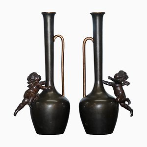Vintage Bronze Cherub Vases, 1930s, Set of 2