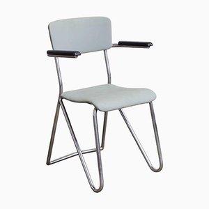 Stuhl aus Chrom & grauem Vinyl mit Hairpin-Beinen von Cor Alons, 1932