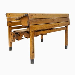 19th-Century Double Wooden School Desk