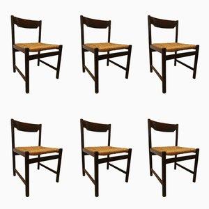 Vintage Esszimmerstühle mit Sitz aus Korbgeflecht von Pastoe, 1970er, 6er Set