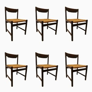 Vintage Wicker Dining Chairs from Pastoe, 1970s, Set of 6