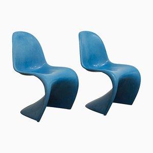 Blauer stapelbarer Stuhl der Erstauflage von Verner Panton für Herman Miller, 1965