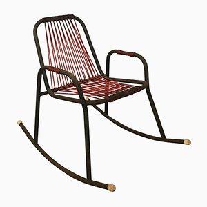 Sedia a dondolo in metallo, plastica e corda, anni '60