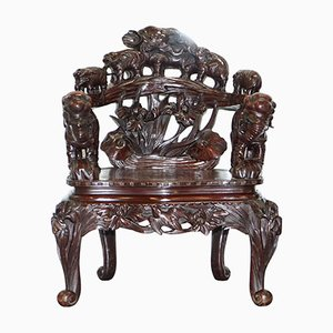 Antique Japanese Hand-Carved Chair