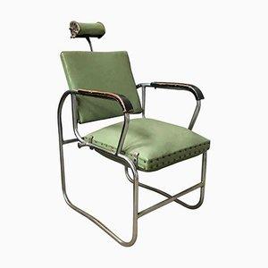 Green Upholstered Barber Chair, 1950s