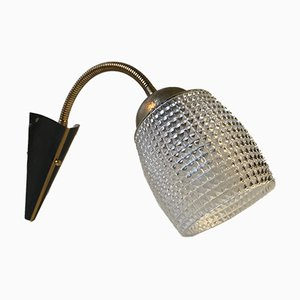Scandinavian Modern Brass & Glass Wall Lamp, 1950s