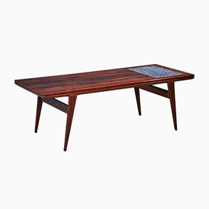 Danish Rosewood Coffee Table with Tiles, 1960s