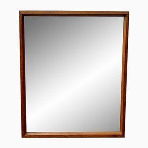 Specchio a muro rettangolare vintage con cornice in teak