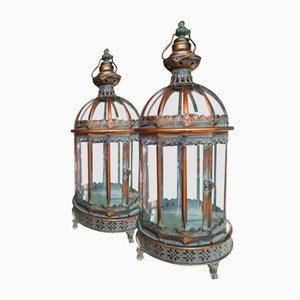 19th Century Copper Verdigris Storm Lanterns, Set of 2