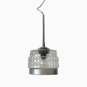 Lámpara colgante danesa moderna de vidrio prensado de Lyfa, años 70