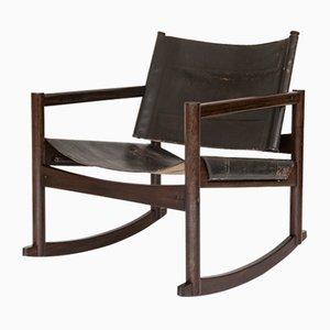 Sedia a dondolo Mid-Century moderna in pelle di Michel Arnoult