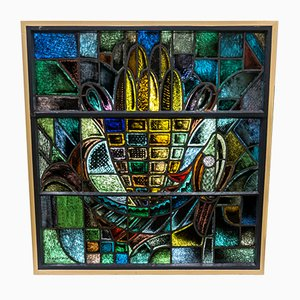 Stained Glass Church Window by W. Mengelberg, 1930s