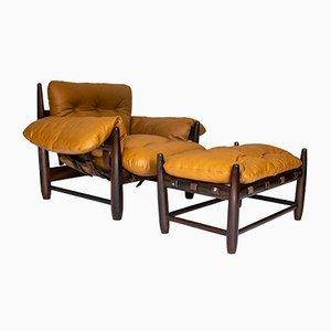 Brasilianischer Sessel aus Leder & Jacaranda von Sergio Rodrigues, 1950er