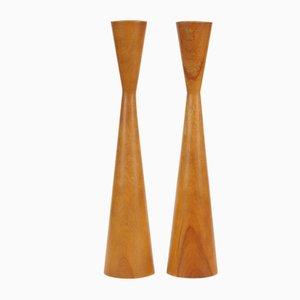 Candelabros Mid-Century de madera de Baribocraft, años 60. Juego de 2