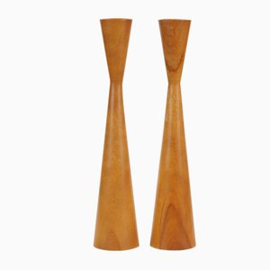 Mid-Century Wooden Candlesticks from Baribocraft, 1960s, Set of 2