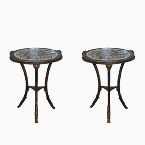 Antique Louis XVI Bronze & Marble Tables, Set of 2