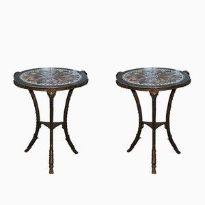Antique Louis XVI Bronze & Marble Tables, Set of 2