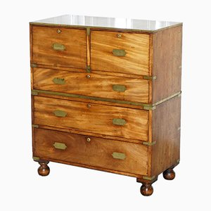 Antique Solid Walnut Military Campaign Chest of Drawers with Brass Trim