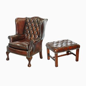 Antique English Chesterfield Leather Wingback Claw & Ball Chair with Footstool