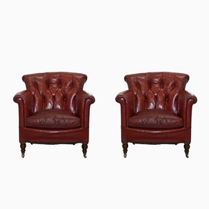 Antique Victorian Blood-Red Leather Club Chairs by Rod Stewart for Howard & Sons, Set of 2