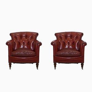 Sillones Club victorianos antiguos de cuero rojo sangre de Rod Stewart para Howard & Sons. Juego de 2