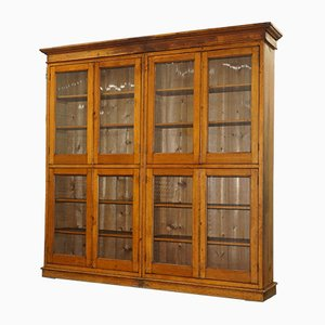 Antique Mahogany & Oak Library Cabinet with Glass Doors
