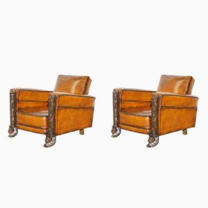 Fauteuils Club Victoriens en Cuir Marron, Set de 2