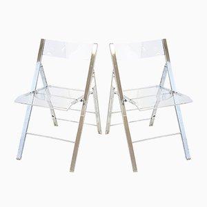 Vintage Klappstühle mit Sitz aus Plexiglas & verchromtem Gestell, 1970er, 2er Set