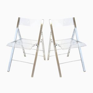 Vintage Plexiglas & Chrome-Plated Foldable Chairs, 1970s, Set of 2