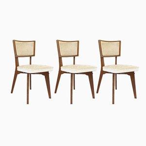 Französische Mid-Century Stühle mit Gestell aus Eiche & Sitzbezug aus Skai, 1950er, 3er Set