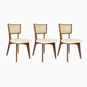 Mid-Century French Oak & Skai Chairs, 1950s, Set of 3