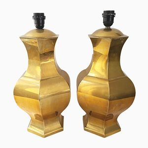 Vintage French Gilded Brass Table Lamps, 1970s, Set of 2