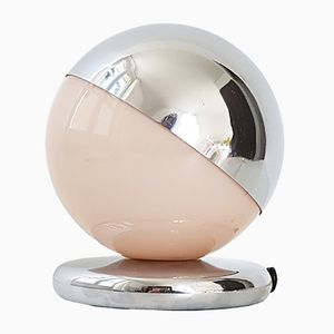 Art Deco French Pink Glass & Chrome-Plated Steel Table Lamp, 1930s