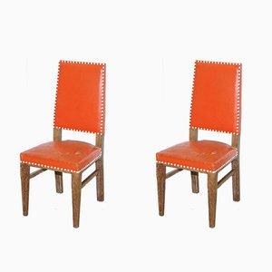 Vintage Art Deco Oak Chairs, Set of 2