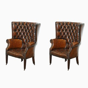 Vintage Chesterfield Barrel-Back Leather Chairs, Set of 2