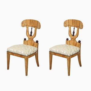 Vintage Swedish Birch Chairs, Set of 2