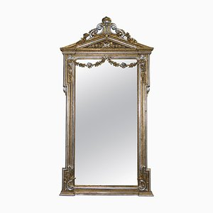 Antiker viktorianischer Spiegel mit Rahmen aus Blattgold- & Blattsilber