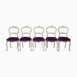 Viktorianische französische Esszimmerstühle, 5er Set
