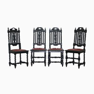 Victorian Carved Oak Dining Chairs, Set of 4